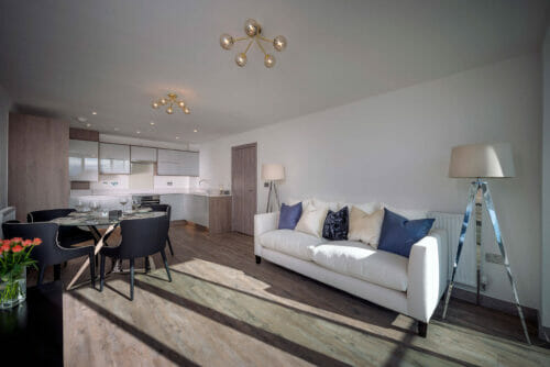 Lounge, Dining and Kitchen of 2 and 3 bed apartments for sale in Bicester